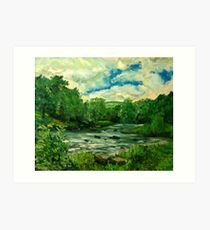 Oil sketch -River Usk at Crickhowell, South Wales Art Print