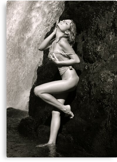 Young sexy beautiful girl stands at nature waterfall location 2 by Anton Oparin
