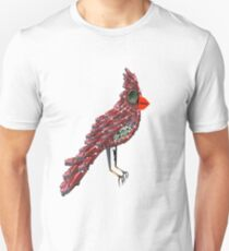 Steampunk Dada Cardinal (Red Cadillac Cardinal Bird Surrealist Collage) Unisex T-Shirt