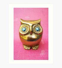 Owl. Pink. Art Print