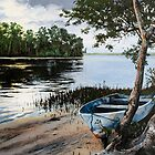 "Original oil painting: ""Dusk at Wallis Lake"" - Forster, NSW, Australia by Martin Lomé"