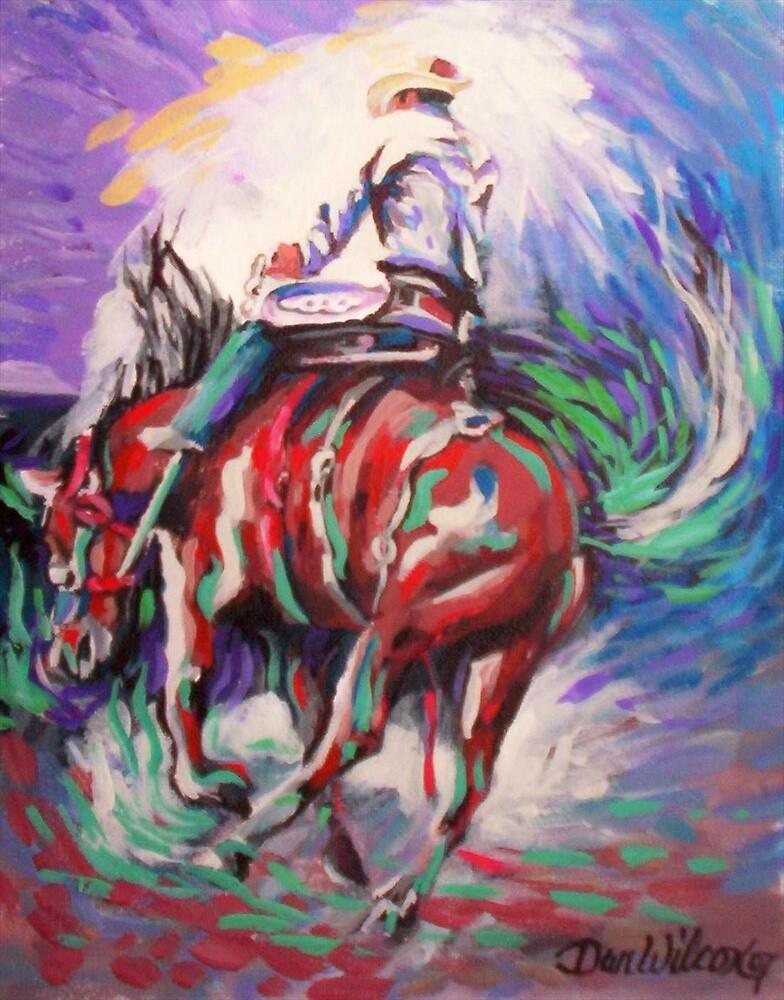 Bronc riding by Dan Wilcox