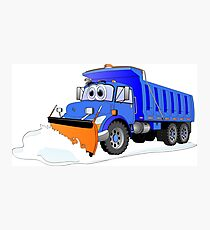 Blue Snow Plow Cartoon Dump Truck Photographic Print