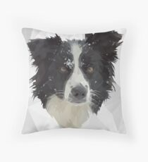 Border Collie in the snow Throw Pillow