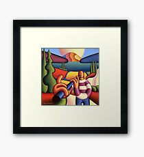 Soft gloss  musician with cottage in landscape Framed Print