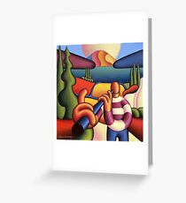 Soft gloss  musician with cottage in landscape Greeting Card