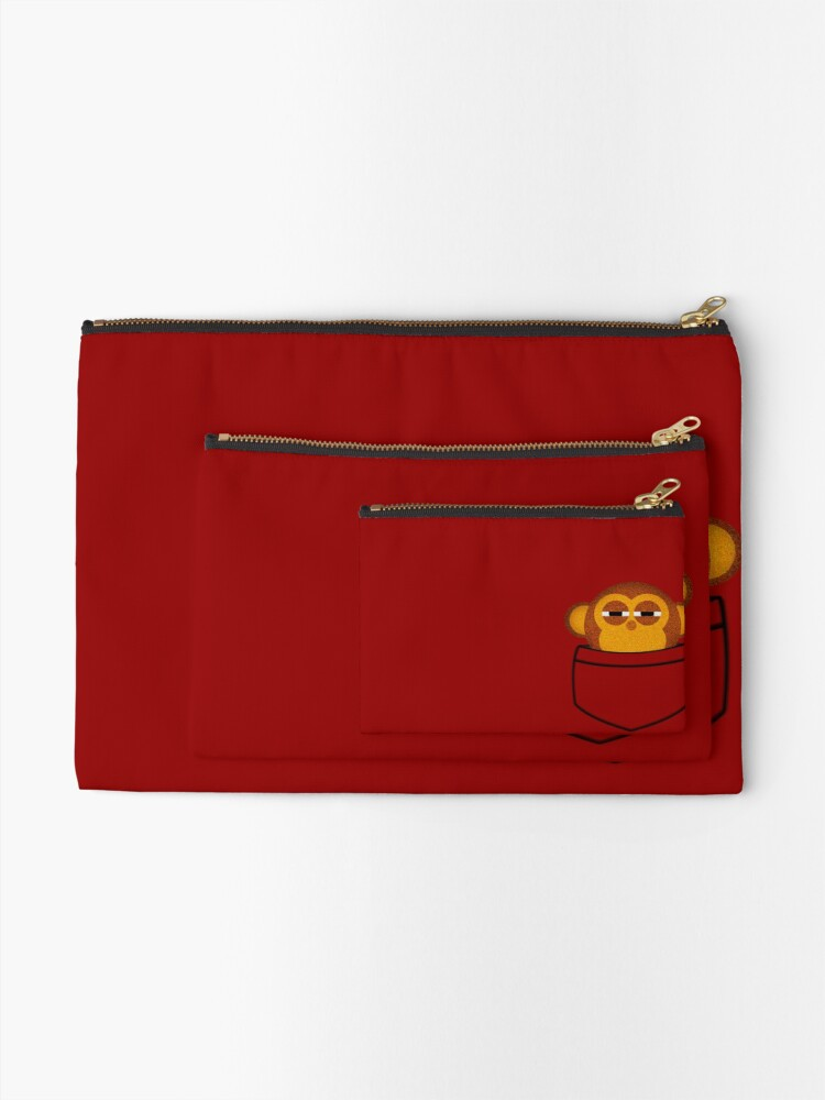 Alternate view of Pocket monkey is highly suspicious Zipper Pouch