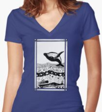 Having a Whale of a Time Women's Fitted V-Neck T-Shirt
