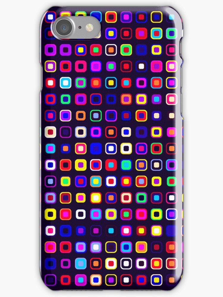 Retro Squares - Black [iPhone case] by Damienne Bingham