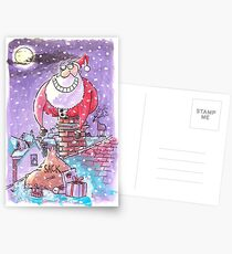 Father Christmas chimney card Postcards