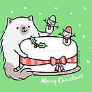 Himalayan Kitty Cat Decorating Christmas Cake by zoel