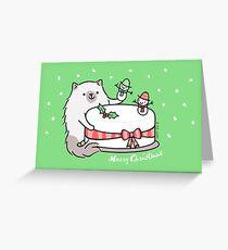 Himalayan Kitty Cat Decorating Christmas Cake Greeting Card