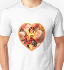 Cupid Comes Bearing Flowers & Candy (Vintage Valentine Greeting Collage)  T-Shirt