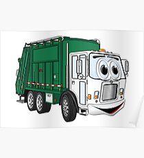 Green Cartoon Garbage Truck Poster