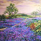 Sea of violets under a yellow sky by Dan Wilcox
