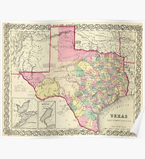 Vintage Map of Texas (1856) Poster
