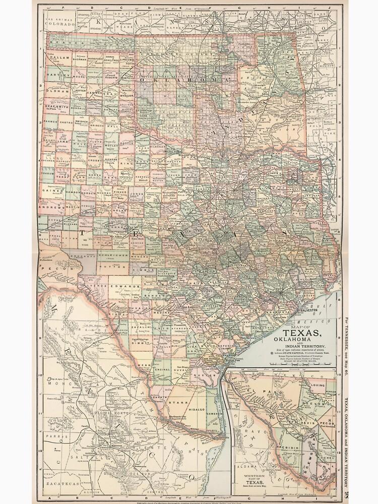 Map Of Texas And Oklahoma.Vintage Map Of Texas And Oklahoma 1891 T Shirt By Bravuramedia