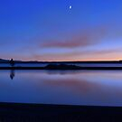 Crescent Moon At Dusk - Yellowstone Lake by Stephen Vecchiotti
