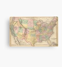 Vinage Map of The United States (1873) Canvas Print