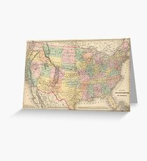 Vinage Map of The United States (1873) Greeting Card