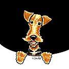 Peeking Airedale Terrier by offleashart
