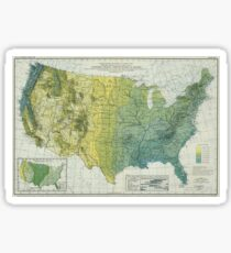 Vintage United States Precipitation Map (1916) Sticker