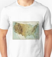 Vintage United States Physical Features Map (1915) Unisex T-Shirt