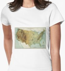 Vintage United States Physical Features Map (1915) Women's Fitted T-Shirt