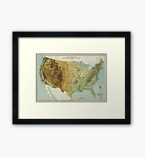 Vintage United States Physical Features Map (1915) Framed Print