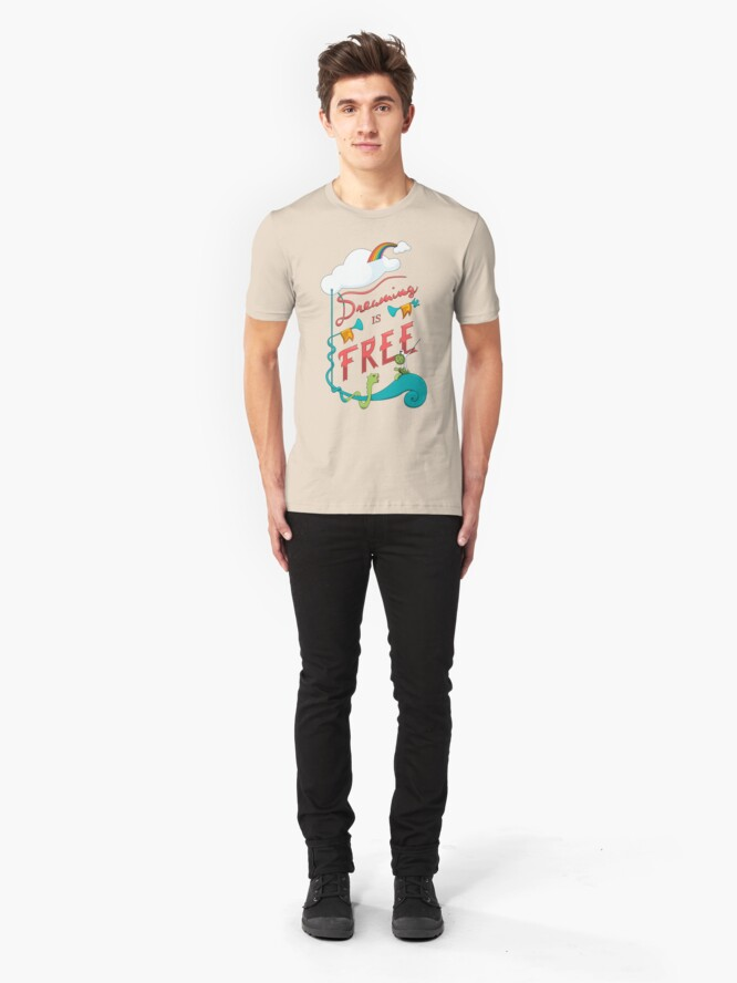 Alternate view of Dreaming is Free Slim Fit T-Shirt