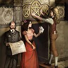 Steampunk 3 of Pentacles by Barbara Moore