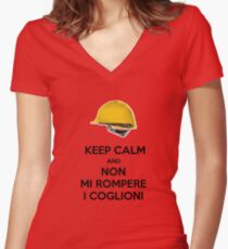 KEEP CALM AND DONT BREAK MY BALLS Women's Fitted V-Neck T-Shirt