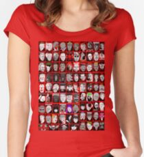 Faces of Horror Collage art Women's Fitted Scoop T-Shirt