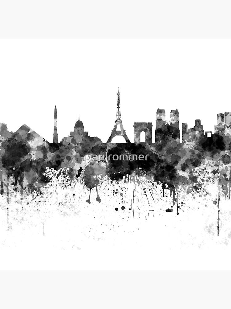 Paris-Skyline im schwarzen Aquarell von paulrommer