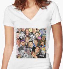 Leonardo DiCaprio Collage Women's Fitted V-Neck T-Shirt