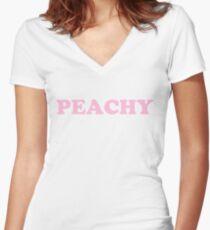 Peachy (pink) Women's Fitted V-Neck T-Shirt