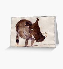 Wart Hog, 2007 - ink on khadi Greeting Card