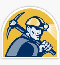 Coal Miner With Pick Axe Retro Woodcut Sticker