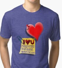 Valentine Heart and Love Note Tri-blend T-Shirt