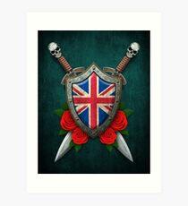 Union Jack British Flag on a Worn Shield and Crossed Swords Art Print