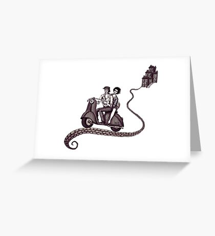 Italian Motive surreal black and white pen ink drawing Greeting Card