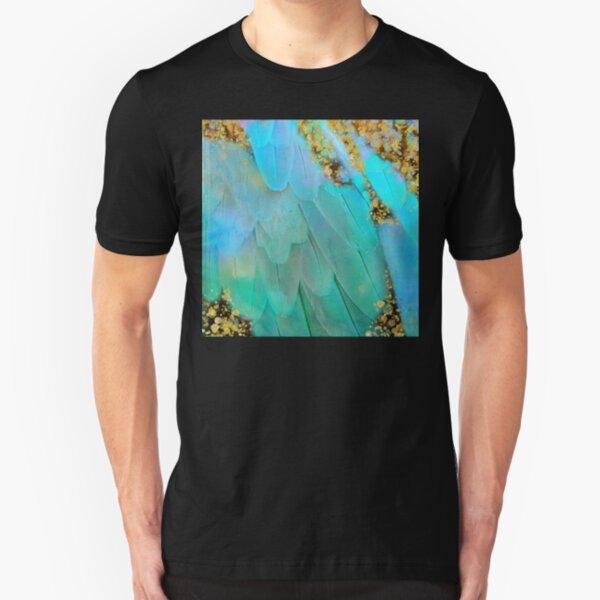 Twee pastel colors feather Fantasy art, gold sparkles Slim Fit T-Shirt