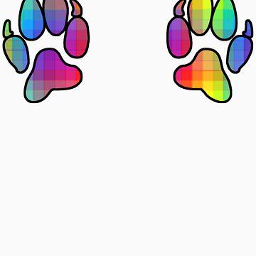 Rainbow paw prints by HappyMassacre