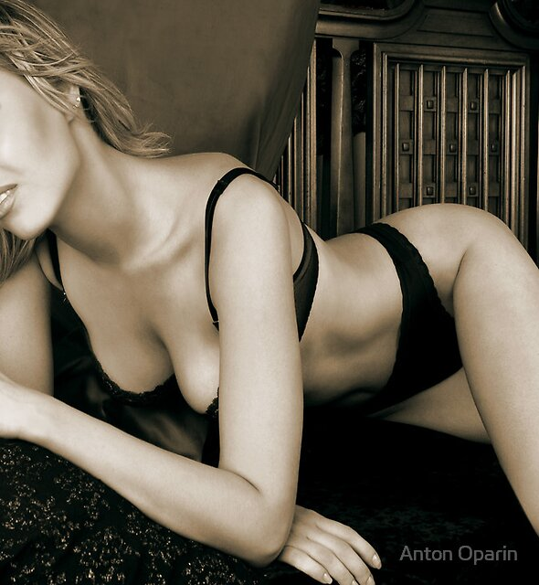 a young blonde woman posing in her bedroom 2 by Anton Oparin
