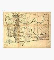 Vintage Map of Washington State (1866) Photographic Print