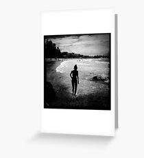 Silhouette of a lady, Terrigal Beach, NSW Greeting Card