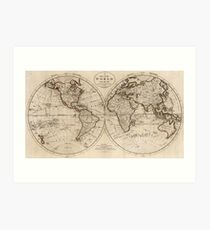 Old Fashioned World Map (1795) Art Print