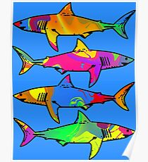 Colorful Sharks Poster