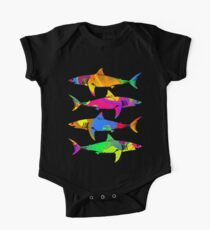Colorful Sharks Short Sleeve Baby One-Piece