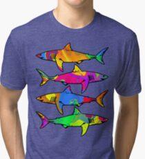 Colorful Sharks Tri-blend T-Shirt